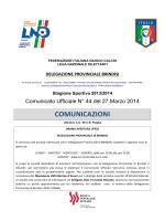 Comunicato Ufficiale n° 44 del 27.03.2014