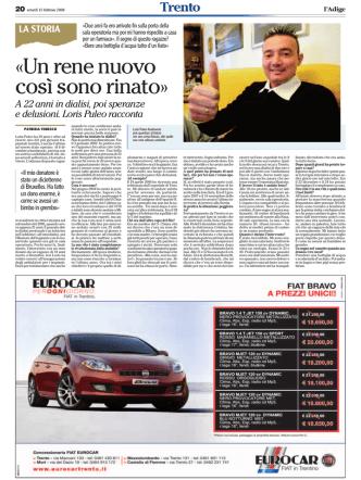 articolo Adige 2 - Emodializzati.it