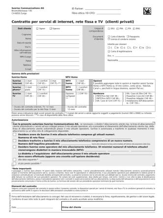 Contratto per servizi di internet, rete fissa e TV (clienti privati)