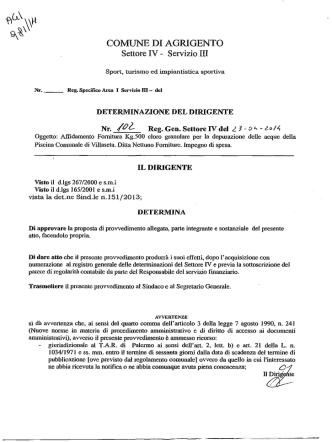 Affidamento Fornitura Kg.500 cloro granulare per la depurazione