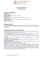 FRANCESCO PIGOZZO PERSONAL INFORMATION CURRENT