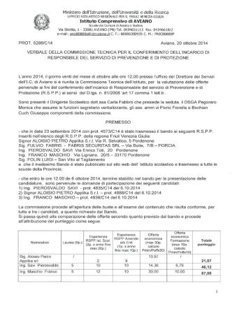 Conferimento incarico RSPP - Istituto Comprensivo di Aviano