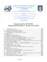 Comunicato Ufficiale N° 36 del 16/01/2014