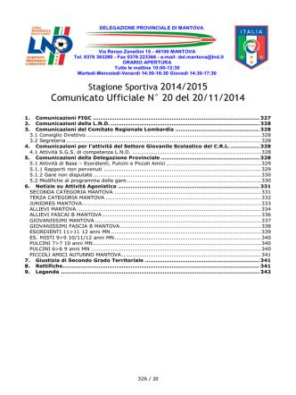 Comunicato Ufficiale N° 20 del 20/11/2014