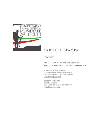 CARTELLA STAMPA - Centenario Prima Guerra Mondiale 2014-2018