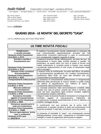 10-2014 Giugno - Le novità del decreto casa