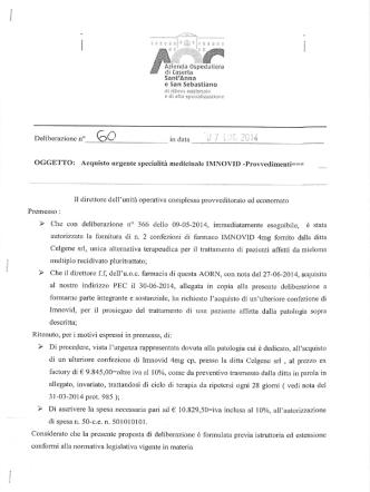 acquisto urgente specialità medicinale IMNOVID