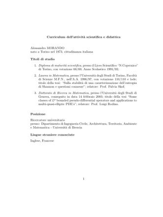 Complete CV (italian)