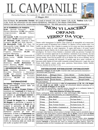 Campanile 25 Maggio 2014 - Parrocchia Santa Lucia