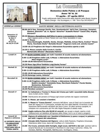 13-27 Aprile 2014 - Parrocchia di Zianigo