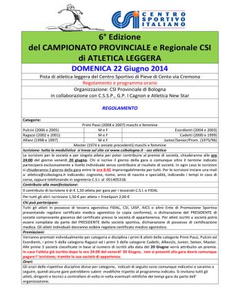 6° Edizione del CAMPIONATO PROVINCIALE e Regionale CSI di
