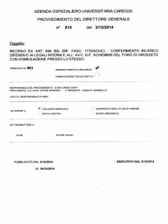 (rif. fasc. 1735/aouc) : conferimento incarico difensivo ai legali interni e