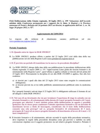 1 FAQ Deliberazione della Giunta regionale, 18 luglio 2013, n. 199