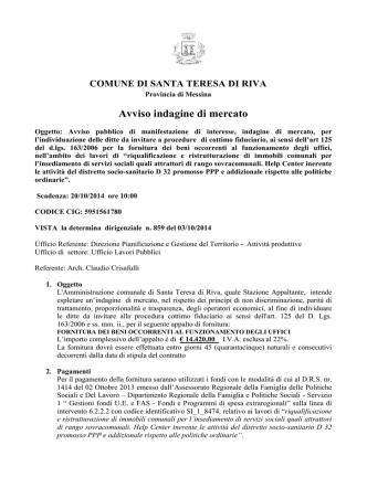 Avviso pubblico - Comune di Santa Teresa di Riva