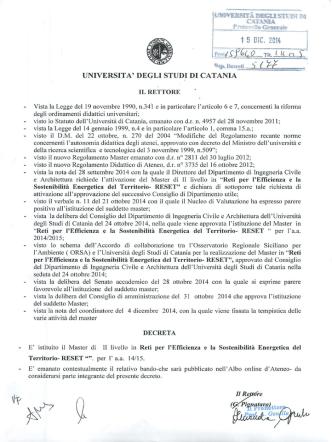 Bando (DR 5177 del 15/12/14) - Università degli Studi di Catania