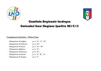 Calendario Juniores 2014-2015