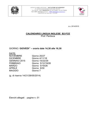 Corso INGLESE B2 FCE Docente Prof. Perduca