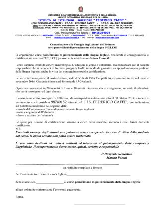 corso di potenziamento della lingua inglese (pet/fce)