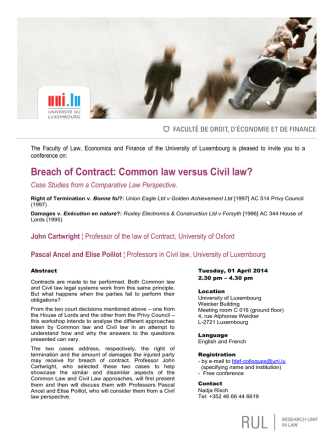 Breach of Contract: Common law versus Civil law?
