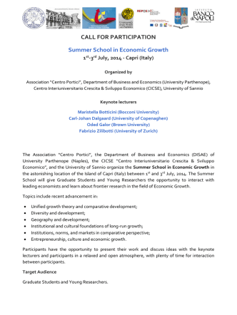 CALL FOR PARTICIPATION Summer School in Economic Growth