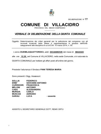 Deliberazione Giunta Comunale n. 77 del 19.05.2014