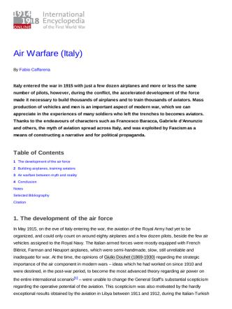Air Warfare (Italy) - 1914-1918-Online. International Encyclopedia of