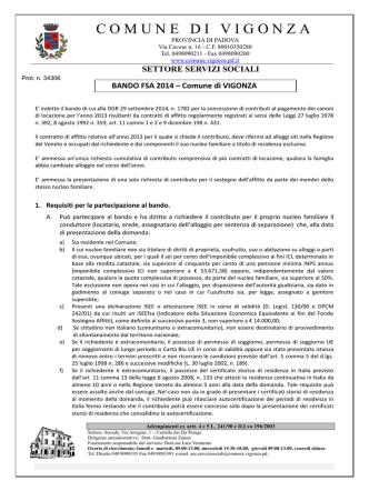 Bando FSA 2014 - Comune di Vigonza