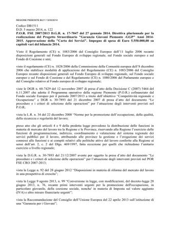 Codice DB1511 D.D. 5 marzo 2014, n. 122 P.O.R. FSE 2007/2013