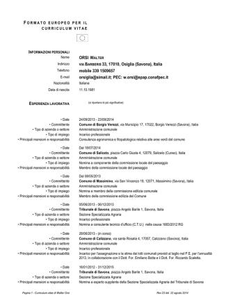 CV Orsi - Comune di Genova