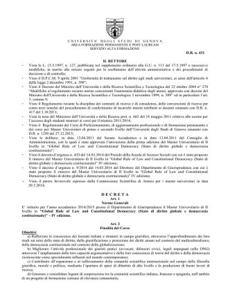 Bando - Studenti e laureati - Università degli Studi di Genova