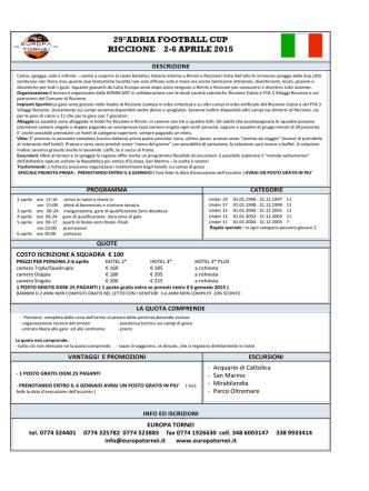 29°adria football cup riccione 2-6 aprile 2015