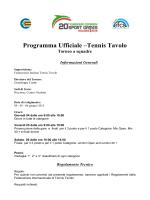 Programma Ufficiale –Tennis Tavolo