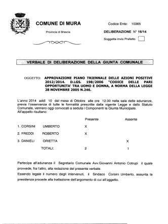 DELIBERA G.C. N.16 DEL 10.10.2014