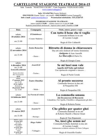 Cartellone stagione teatrale - Comune di Veduggio con Colzano