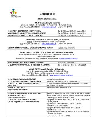 APRILE 2014 - Ostello di Rovereto