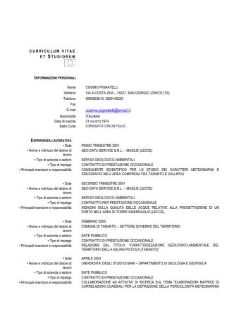 curriculum vitae et studiorum - Università degli Studi di Messina