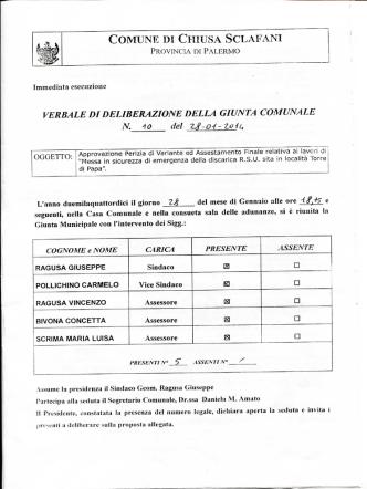 Approvazione Perizia di Variante ed Assestamento Finale relativa ai
