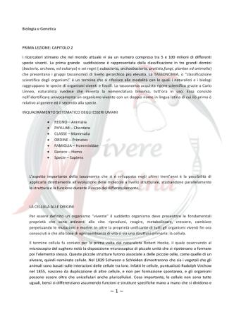 Biologia e Genetica PRIMA LEZIONE: CAPITOLO