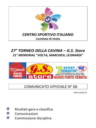 Comunicato ufficiale N.06 - 27° Torneo della Cavina