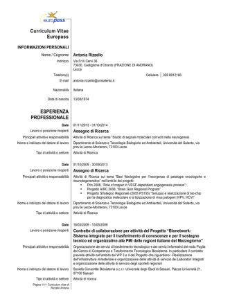 CV europeo RIZZELLO ANTONIA