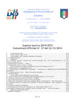 Comunicato Ufficiale N° 27 del 23/12/2014
