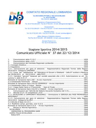 comunicato regionale Lombardia n. 37 del 22