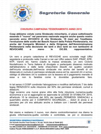 31.10.2014 chiusura campagna tesseramento anno 2015