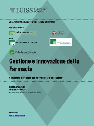 BROCHURE Gestione Innovazione Farmacia 2014 III edIZIONE