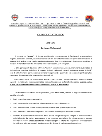 CAPITOLATO TECNICO LOTTO 1 - Cagliari