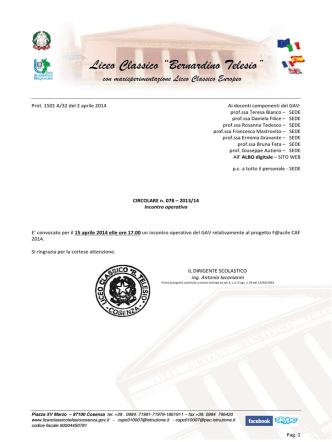 Circolare n. 078 - 2013_14 GAV