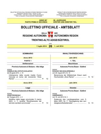 Bollettino - Regione Autonoma Trentino Alto Adige