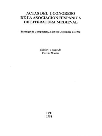 actas del i congreso de la asociación hispánica de literatura medieval