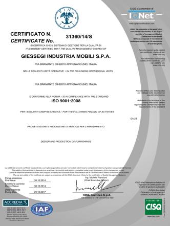 31360/14/S GIESSEGI INDUSTRIA MOBILI S.P.A. CERTIFICATE No