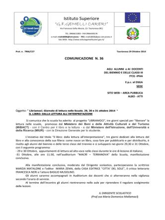 comunicazione n 36-2014 - istituto Gemelli CarerI